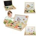 Puzzle Brinquedo de Madeira do Miúdo Duplo Cavalete desenho Placa de Escrita Magnética Bloco de Notas Presente Crianças Inteligência Educação Toy Desenvolvimento da primeira