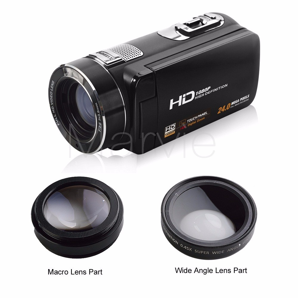 "Marvie FHD Camcorder True 1080p @ 30fps Max 24.0 MP Full Color Screen For Low light 3.0"" Touch Screen 16x Zoom DV Recorder 6"
