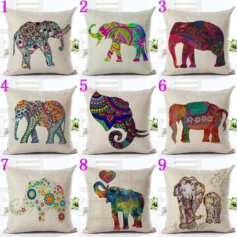 line Shop Cute Colorful India Elephant Pillowcase Pillow Cover