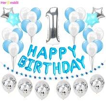 Cartel de globo azul de primer cumpleaños para niños y niñas decoración de fiesta de 1 ° año, guirnalda para adultos, suministros de oro rosa