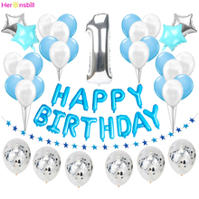 Erste Glücklich Geburtstag Blau Ballon Banner Mein 1st 1 Ein Jahr Party Dekorationen Kinder Baby Junge Mädchen Erwachsene Girlande Liefert rose Gold