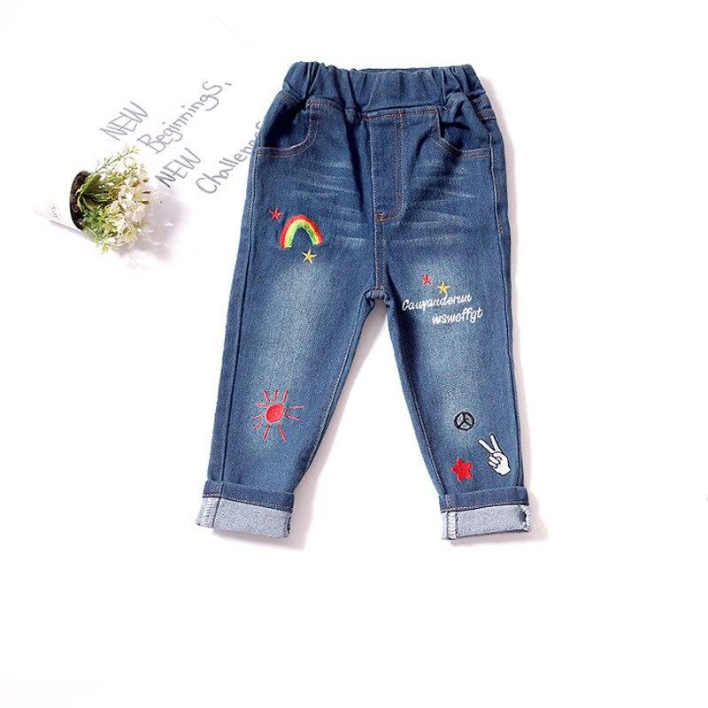 2021 Autumn Baby Boys Girls Jeans Cartoon Rainbow Embroidered Denim Pants Jeans For Girl Newborn Infant Soft Denim Pants