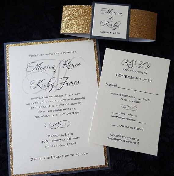 Bespoke Gold oder Silber Glitzernde Hochzeit Einladungen mit RSVP-in Karten & Einladungen aus Heim und Garten bei  Gruppe 2