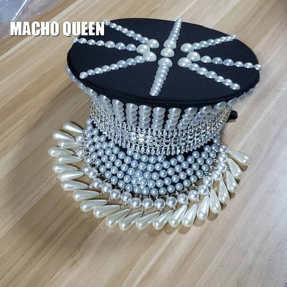 7e4043ad2367a Burning Man Festival Holographic Pearl Fringe Hat Military Captain Rave  Bespoke Hat Costumes Gypsy Headpiece Headwear