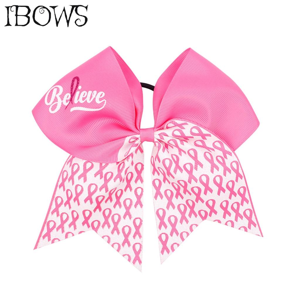 "USA 12 Large 7/"" PINK Bows Breast Cancer Awareness Big Girls Cheer Hair Bow"