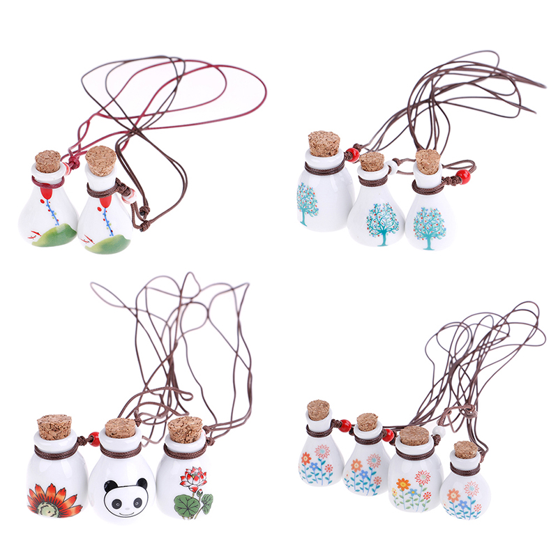 1PC Ceramic Glass With Wood Pendant Perfume Necklace Bottle Ceramic Nail Cup For Art Work Neclaces And DIY