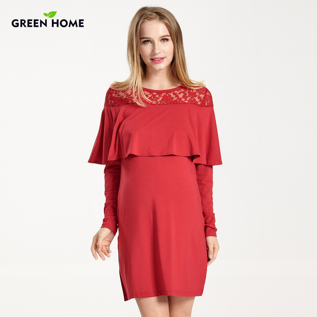 Green Home Winter Elegant Gravida Pregnant Dress Evening Lace