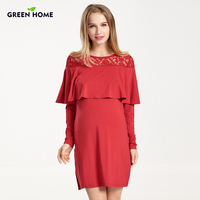 Green Home Winter Elegant Gravida Pregnant Dress Evening Lace Nursing Dress For Party Long Sleeves Maternity