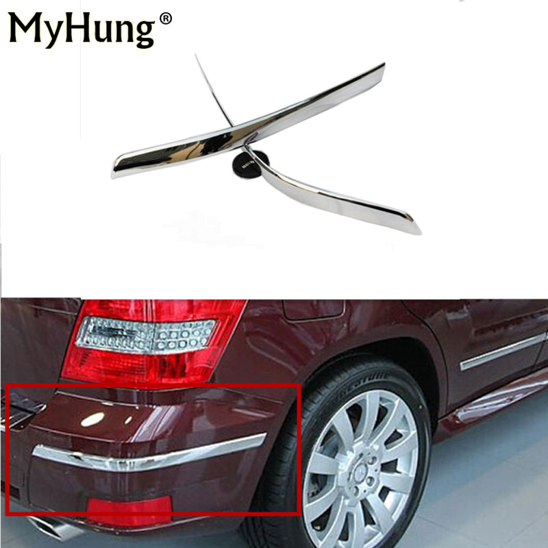 Car-styling Rear Bumper Around Corner Tail Protection Trim For Mercedes-Benz GLK 300 GLK350 2011 2012 Abs Chrome 2pcs car auto accessories rear trunk trim tail door trim for subaru xv 2009 2010 2011 2012 2013 2014 abs chrome 1pc per set