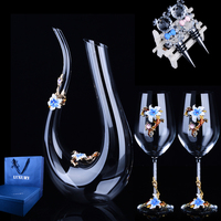 Luxurious Colour Enamel Lead Free Crystal Glass Goblet Red Wine Decanter Wine Set Household Wedding Business Gift