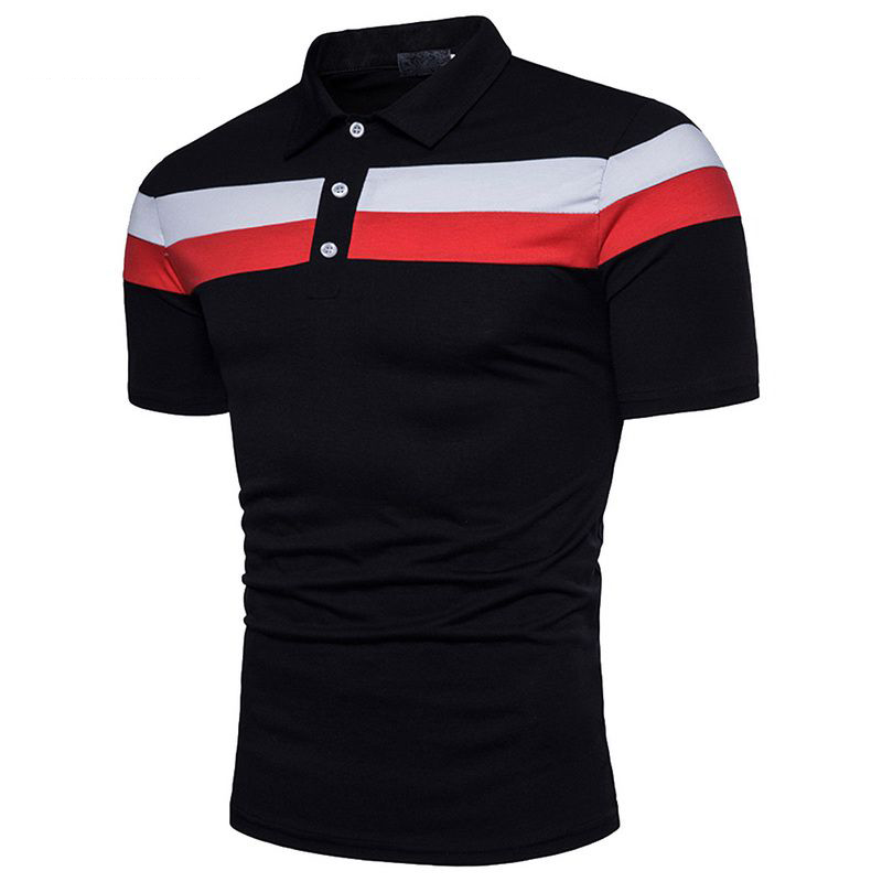 Laamei 2019 Casual   Polo   Shirt Mens Summer Fashion Patchwork Black White Stitching Cotton Short Sleeve Comfortable   Polo   Shirts