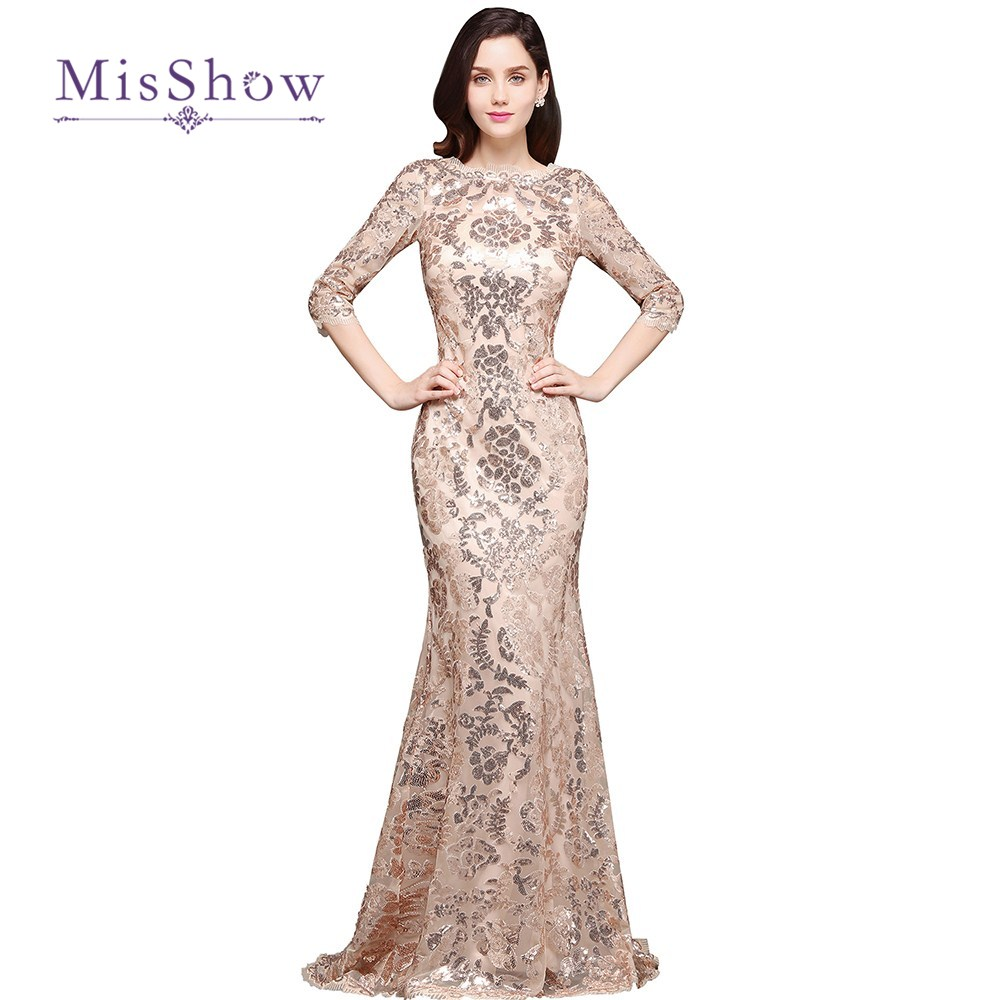 Rose Gold Evening Dress 3 4 Sleeves