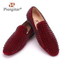 Zapatos de los hombres hechos a mano de terciopelo negro con remaches partido y de la boda de La Manera hombres de los holgazanes de estilo Italiano fumadores slipper hombres falts