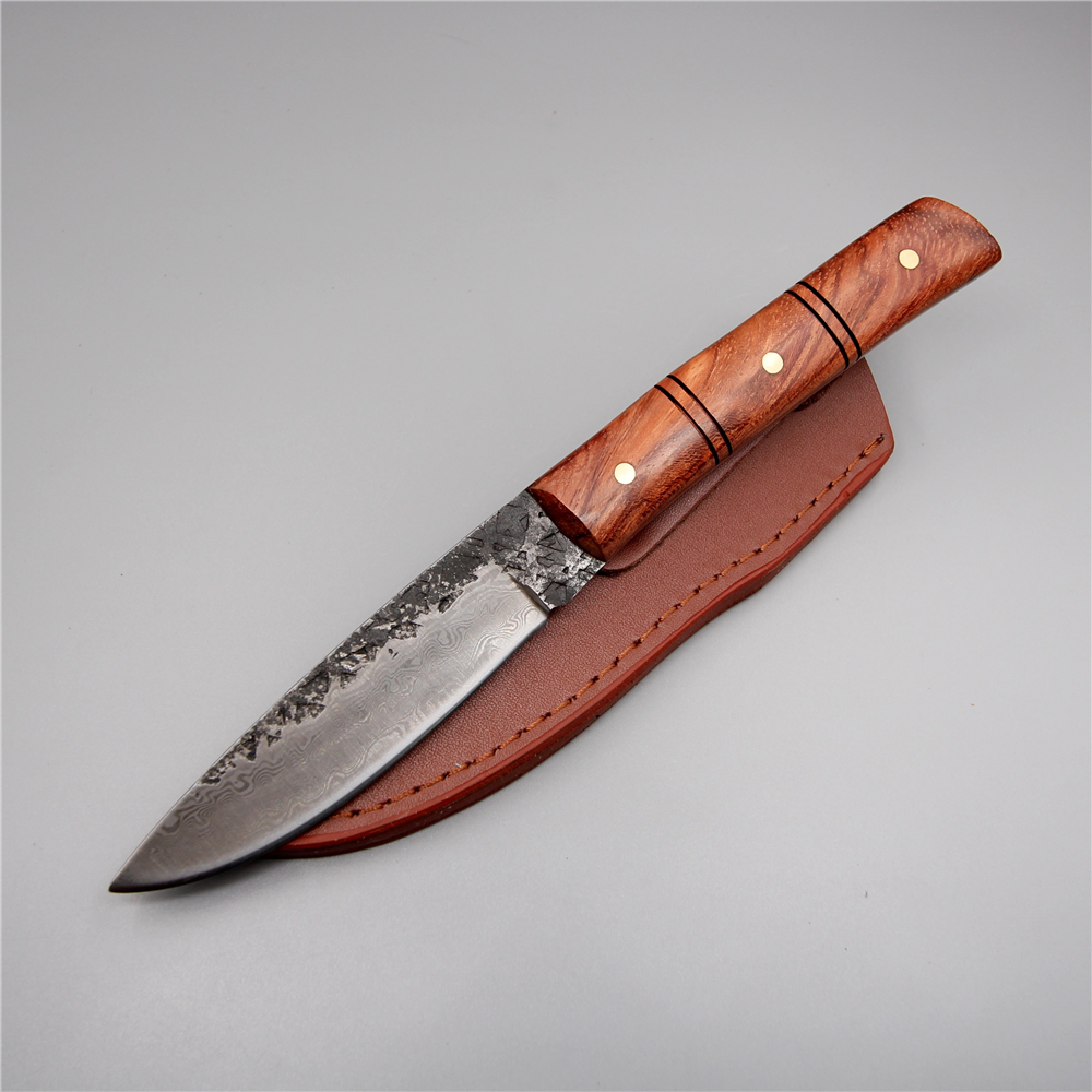 Handmade camping hunting knife damascus steel straight fixed blade 58 hrc outdoor pocket knife tools bamboo handle survival kkwolf damascus steel antler handle fixed blade knife survival camping tactical hunting knife pocket multi tools lowest price