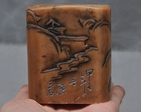 rare Old Chinese shoushan stone hand carved paople man statue seal stamp signet