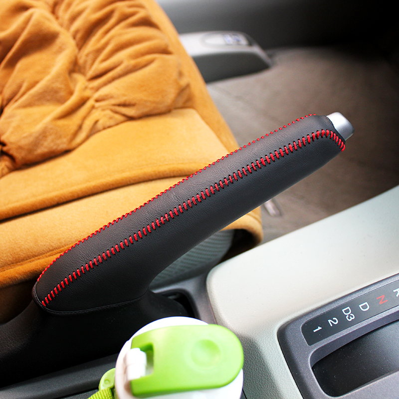 LS AUTO Top Genuine Leather Case For Handbrake For Honda Civic 9 Hand Brake Cover Top Layer Leather Cover Handbrake Car Accessor