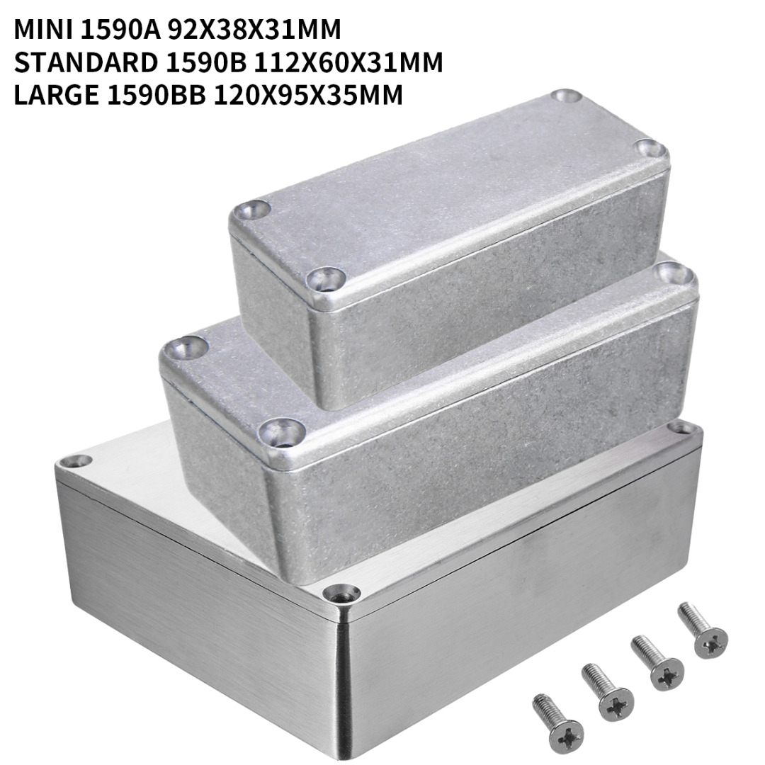 1pcs Silver Aluminium Enclosure Instrument Box Electronic Diecast Stompbox Project Box With 4 Steel Screws