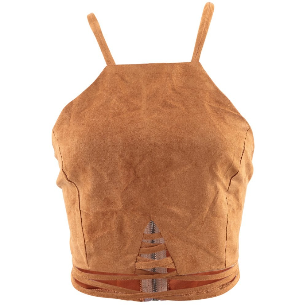 f1a1f7a8fc Kenancy Vintage Brown Faux Leather Suede Cropped Tank Top Sexy Lace ...
