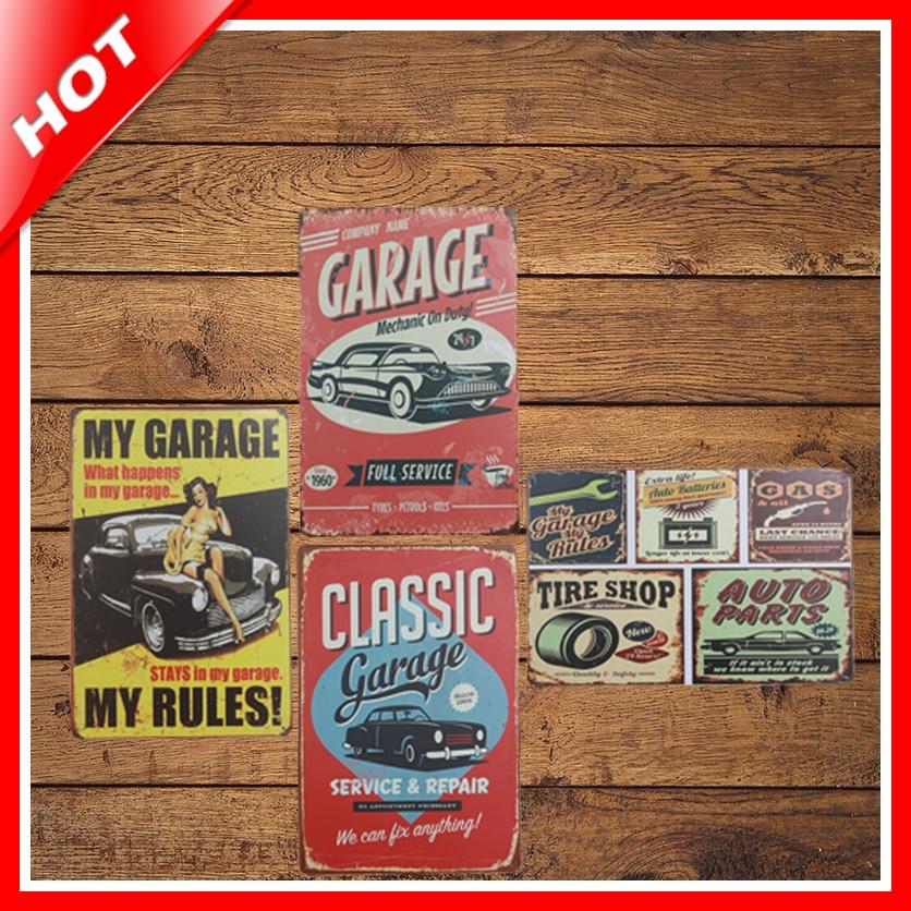 [ IDEA ]^_^20*30cm Garage Vintage Metal Signs Home Decor Vintage Tin Signs Pub Vintage Decorative Plates Metal Wall Art