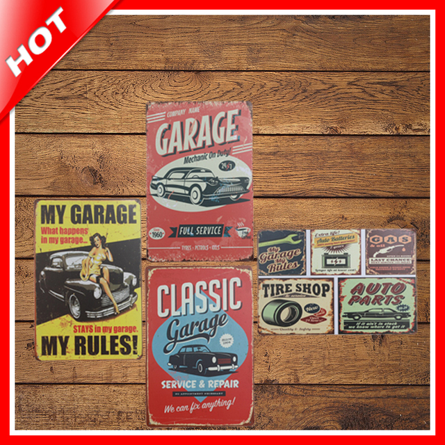 IDEA 2030cm Garage Vintage Metal Signs Home Decor