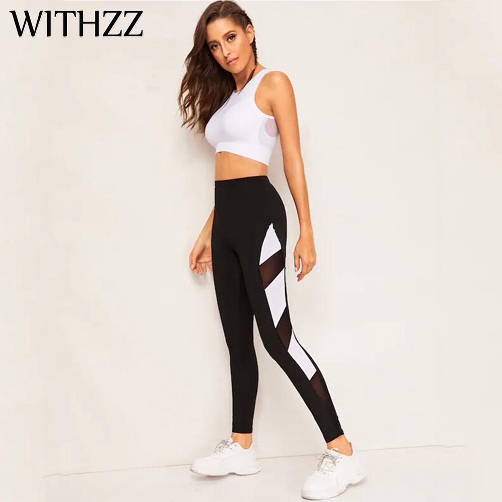 WITHZZ Mesh Leggings Women Leggins Elbows for Fitness Legins Workout Jeggings Tayt Sporting Athleisure Sportleggings Pants