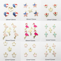 Choose Design First Each Style 30pcs Bag Full Enamel Small Crown Cross Flamingo Small Charm