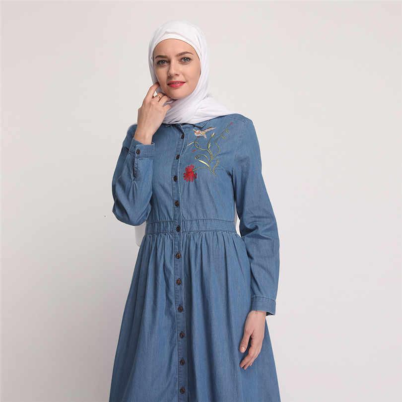 Donne Abaya Musulmano Abito Caftano Turco Dubai Abbigliamento Islamico Lungo Del Denim Del Manicotto Maxi Abiti Camicia Del Ricamo Veste