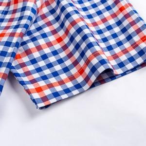 Image 3 - גברים מזדמנים קצר שרוול חולצות סטנדרטי fit קיץ דק רך 100% כותנה כפתור למטה משובץ פסים שמלת חולצה