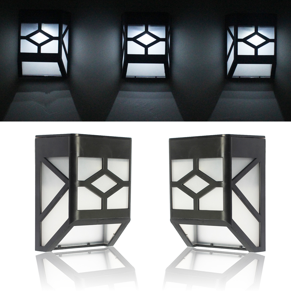 Solar Power Panel 2 LED Solar Wall Lamps White Light Wall Mount Outdoor Garden Path Fence Lamp Courtyard Emergency Light