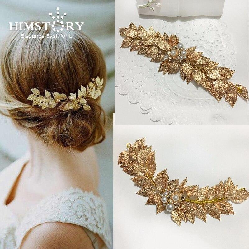 HIMSTORY Handmade Gold Pearl Leaf Tiara Wedding Hair Accessories Jewelry Bridal Headpiece Vintage Hair Accessories