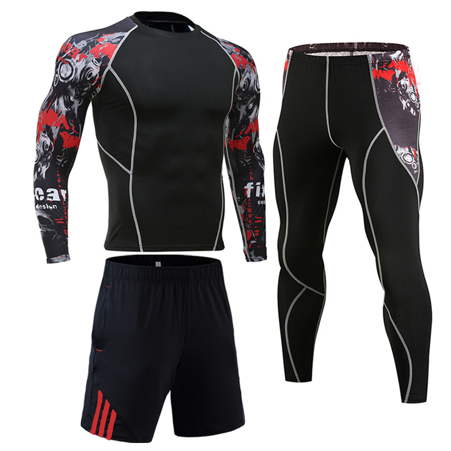 Men Tracksuit Set Compression Sports Suit Rash Guard Male MMA Gym Workout Clothes Jogging Training Sportswear Union Suit S-4XL
