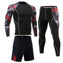 Men Tracksuit Set Compression Sports Suit Rash guard Male MMA Gym Workout Clothes Jogging Training Sportswear union suit S-4XL