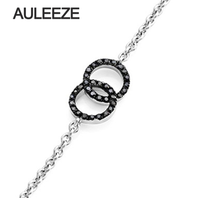 Trendy Pave Setting Black Diamond Bracelet 14K White Gold Double Loop Bracelet For Women Fashion Chain & Link Bracelets