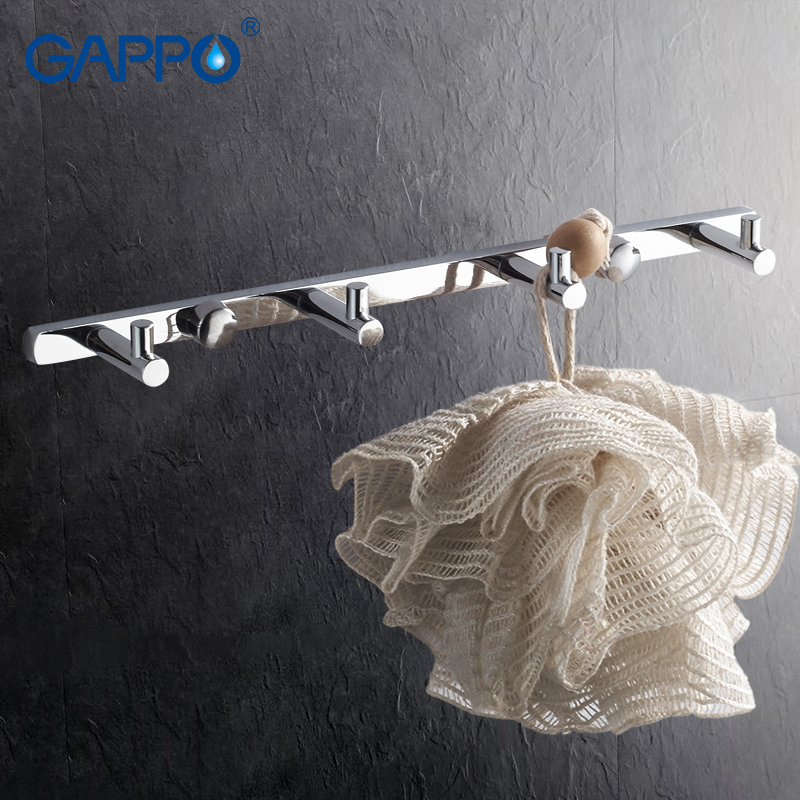 GAPPO 1 set High quality 4 clothes hook Hooks Wall mount Coat Hat hanger Tower Holder zircalloy Bathroom Towel Hanger GA202-4 xoxo best promotion 3 4 5 6 7 stainless hooks coat hat holder clothes rack hook wall home kitchen bathroom hanger door decor
