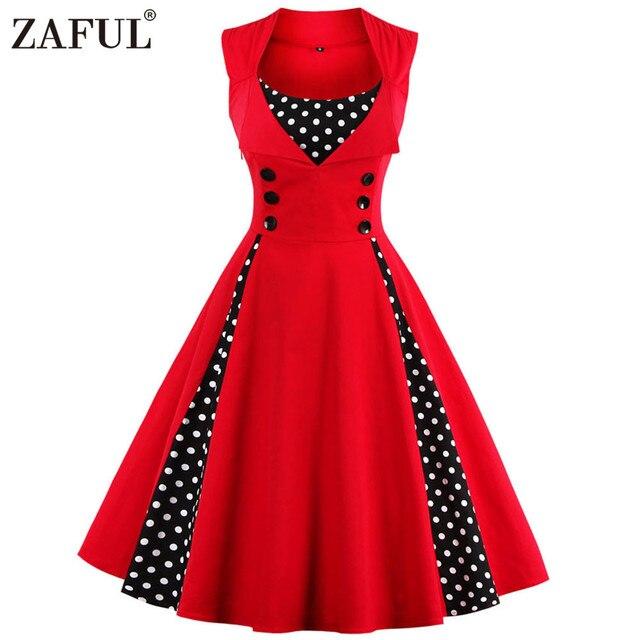 ZAFUL 7 цвет Плюс размер Летние Женщины Красный polk dot урожай Одри hepbum 50 s Рокабилли халат Retro Party Dress Feminino Vestidos