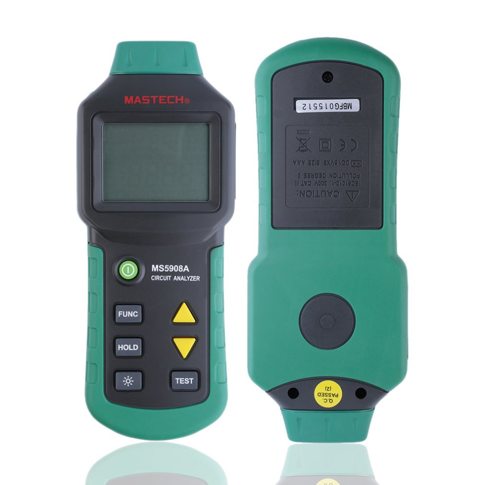 1 pcs MASTECH MS5908 US Plug AC Low Voltage Line Fault GFCI Tester Analyzer 110V digital multimeter fault line