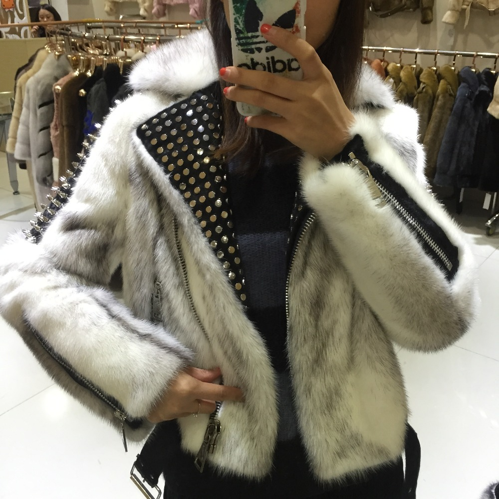 SQXR FUR Women's Winter Real Mink Fur Coat Fashion Luxury Mink Fur Coat For Female With Rivet Design