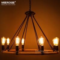 American style Rope chandelier Vintage Antique suspension lamp E27 Edision bulb chandelier lustre Living room,Restaurant hanging