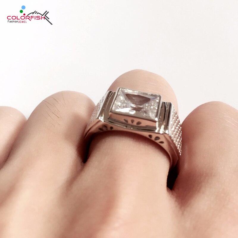 COLORFISH Solid 925 Sterling Silver Men s Rings Luxury Bezel Set 3 Carat Big Stone Sona