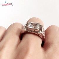 Colorfish solido argento 925 anelli da uomo di lusso lunetta set 3 carati grande pietra sona nscd solitaire anello di fidanzamento wedding