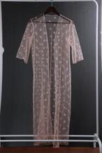 Pink Polka Dots Mesh Long Cardigan Bikini Cover up RK