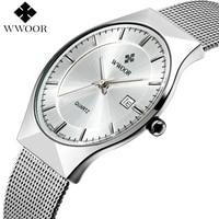Top Brand Luxury Ultra Thin Quartz Watch Men 50m Waterproof Casual Sports Watches Male Silver Steel
