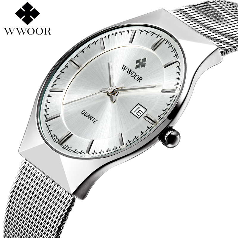 все цены на WWOOR Brand Luxury Mens Watches Waterproof Ultra Thin Date Clock Male Steel Mesh Silver Sport Men Quartz Watch relogio masculino