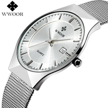 WWOOR Brand Luxury Mens Watches Waterproof Ultra Thin Date Clock Male Steel Mesh Silver Sport Men Quartz Watch relogio masculino