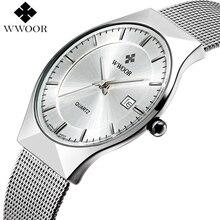 WWOOR Merk Luxe Heren Horloges Waterdichte Ultra Dunne Datum Klok Mannelijke Stalen Mesh Silver Sport Mannen Quartz Horloge relogio masculino
