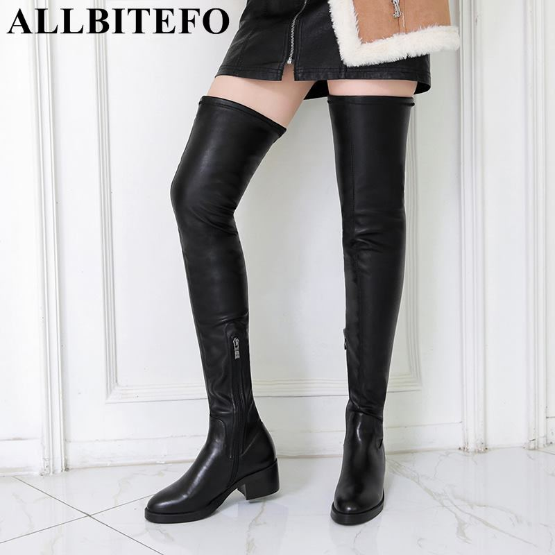 ALLBITEFO fashion sheepskin Elastic material sexy women boots for girls over the knee boots winter warm
