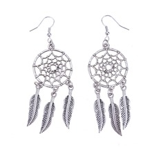 1 Pair Feather Tassel Dangle Earrings Dream Catcher Shaped Ear Plugs Pendant Fashion Women Ears Piercing Jewerlry Accessories