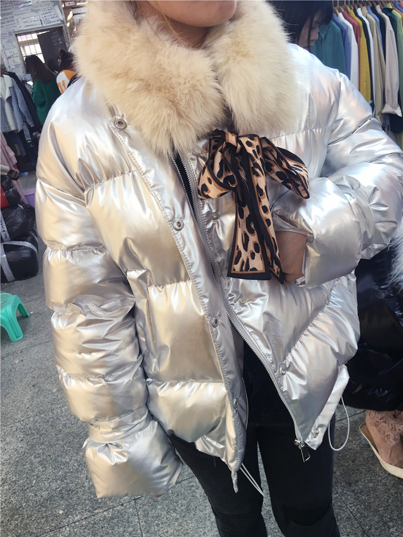 rembourré Parka Réel D'hiver Pain Femme Coton Fourrure De Fox Mode Col Noir rose Vestes argent Nouvelle Manteaux Lumineux Femmes Espace blanc Courte Veste Chaud dnqTO