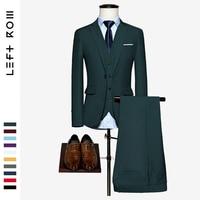 LeftROM 2019 Spring NEW Mens Fashion Slim Fit Stretch Finished Bottom Suits Blazer Groom Groomsmen Suit 3pcs(Jacket+Vest +Pants)