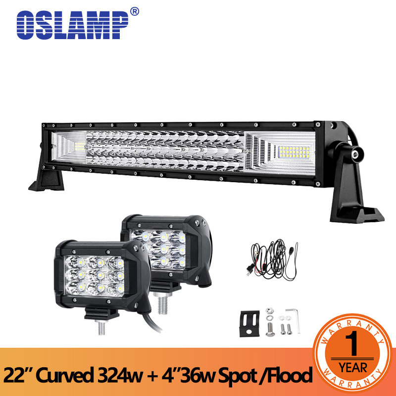 Oslamp 22 3 ряд изогнутой светодиодный свет комбо луч бар + 2x36 Вт пятно луч работы для DC 12 В 24 В грузовик ATV внедорожник пикап 4WD 4x4